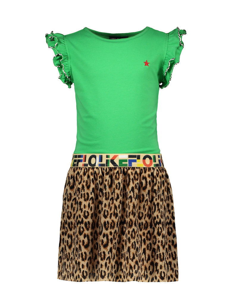 Like Flo Flo girls green dress with AO panter plisse skirt