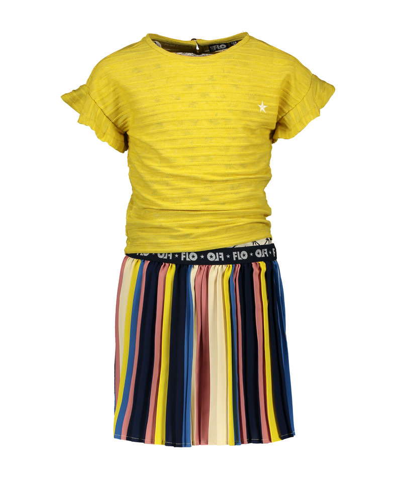 Like Flo Flo girls 2pc multi stripe dress with plisse skirt and yellow top