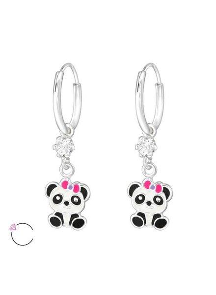 Zilveren Panda Swarovski oorbellen