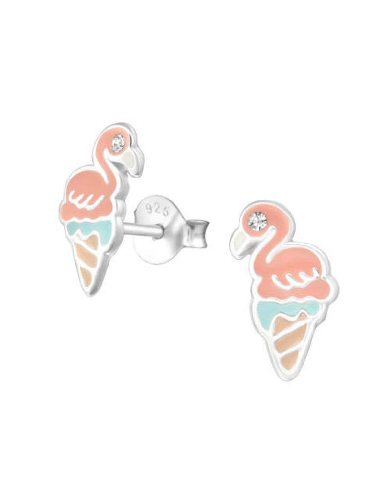 Zilveren flamingo ijs oorstekers