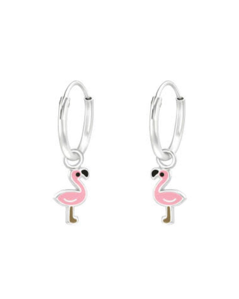 Flamingo zilveren oorbellen