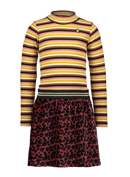 Like Flo Flo girls crincle velvet dress with stripe turtle neck (5825)