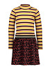 Like Flo Flo girls crincle velvet dress with stripe turtle neck (5825)
