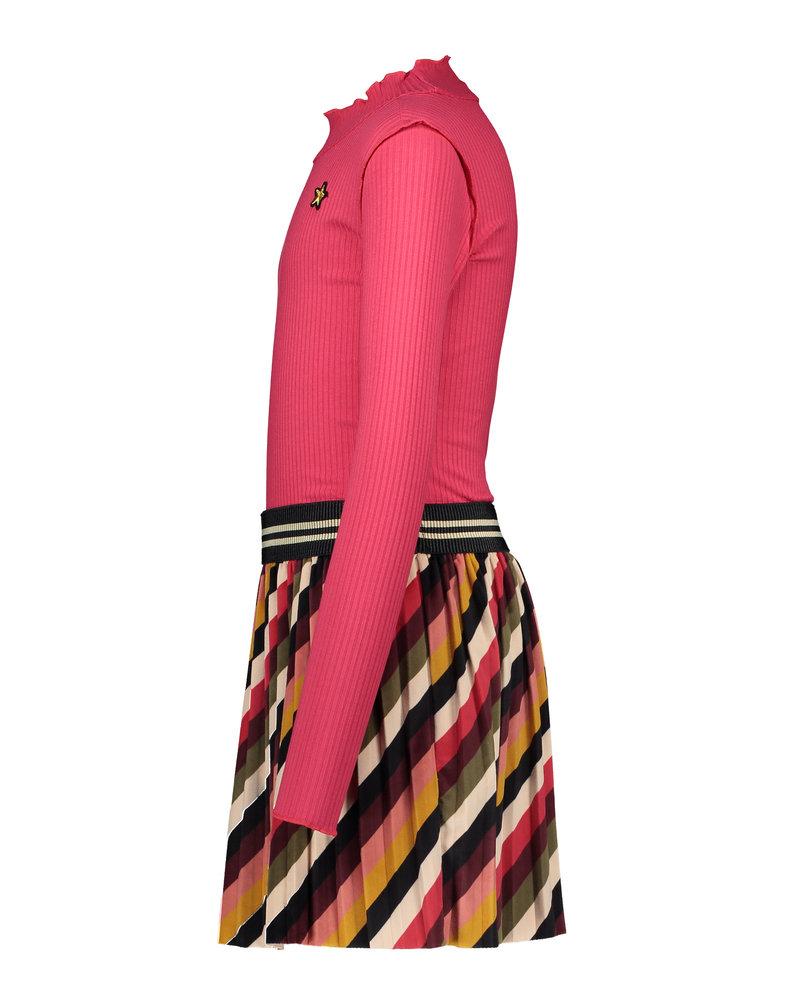 Like Flo Flo girls rib ls turtle neck dress (5824)