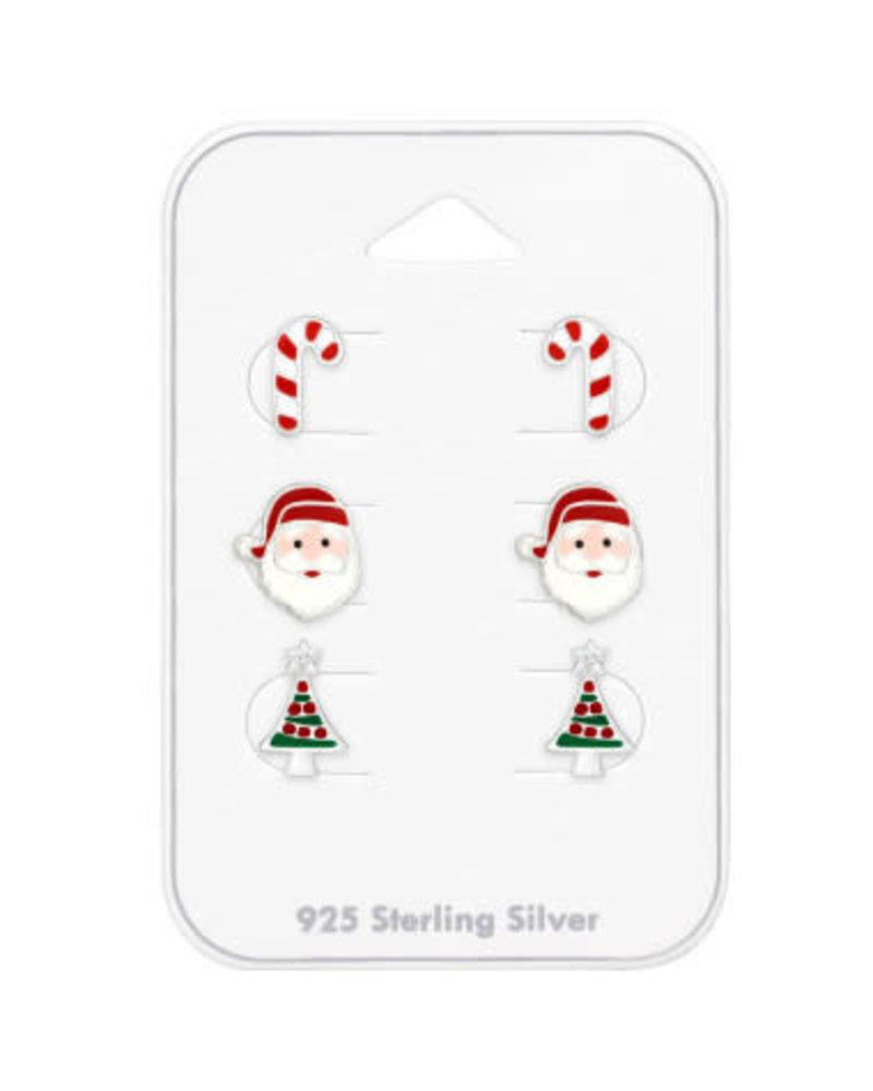 Zilveren oorbellen set kerst