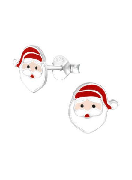 Zilveren Kerstman oorbel