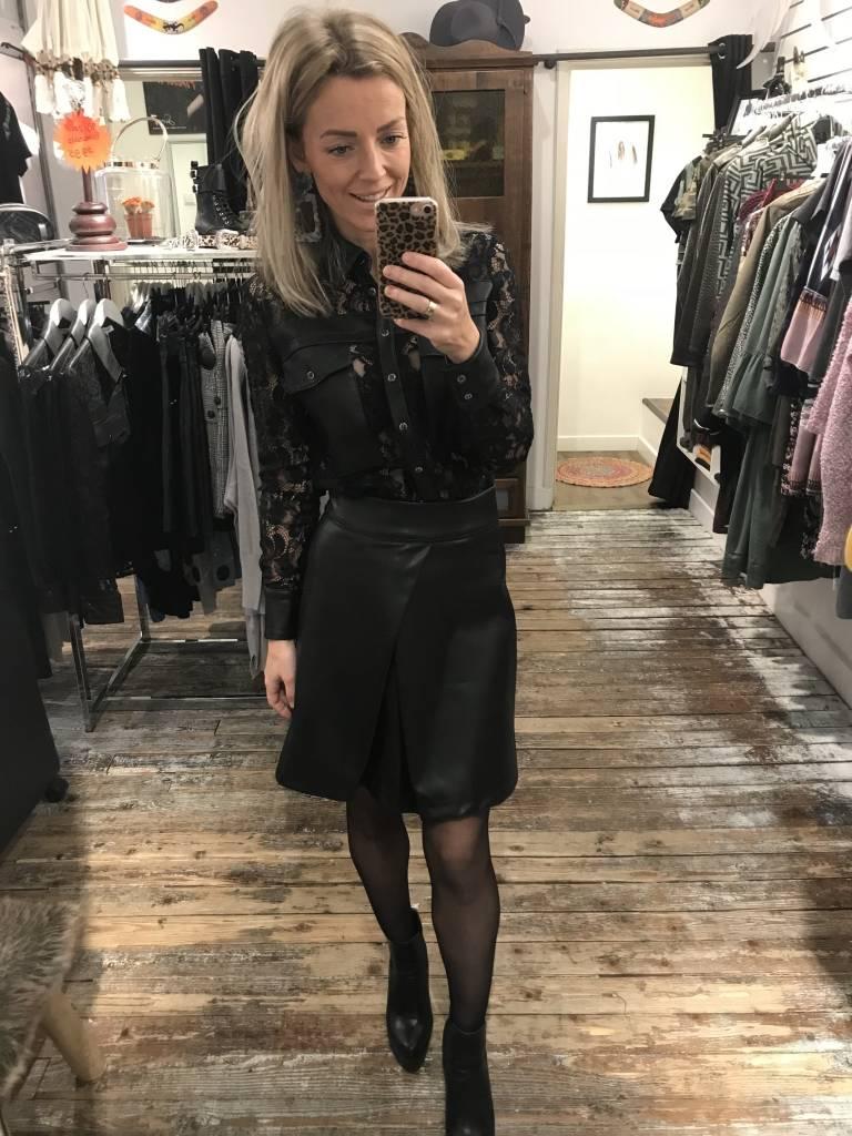 21971 Mrs Goldie Leather Skirt Black