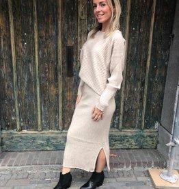 888 Purple Queen Comfy Suit Sweater Skirt Beige