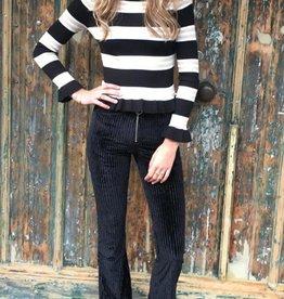 353 Crazy Lover Pants Flair Zipper Rib Black