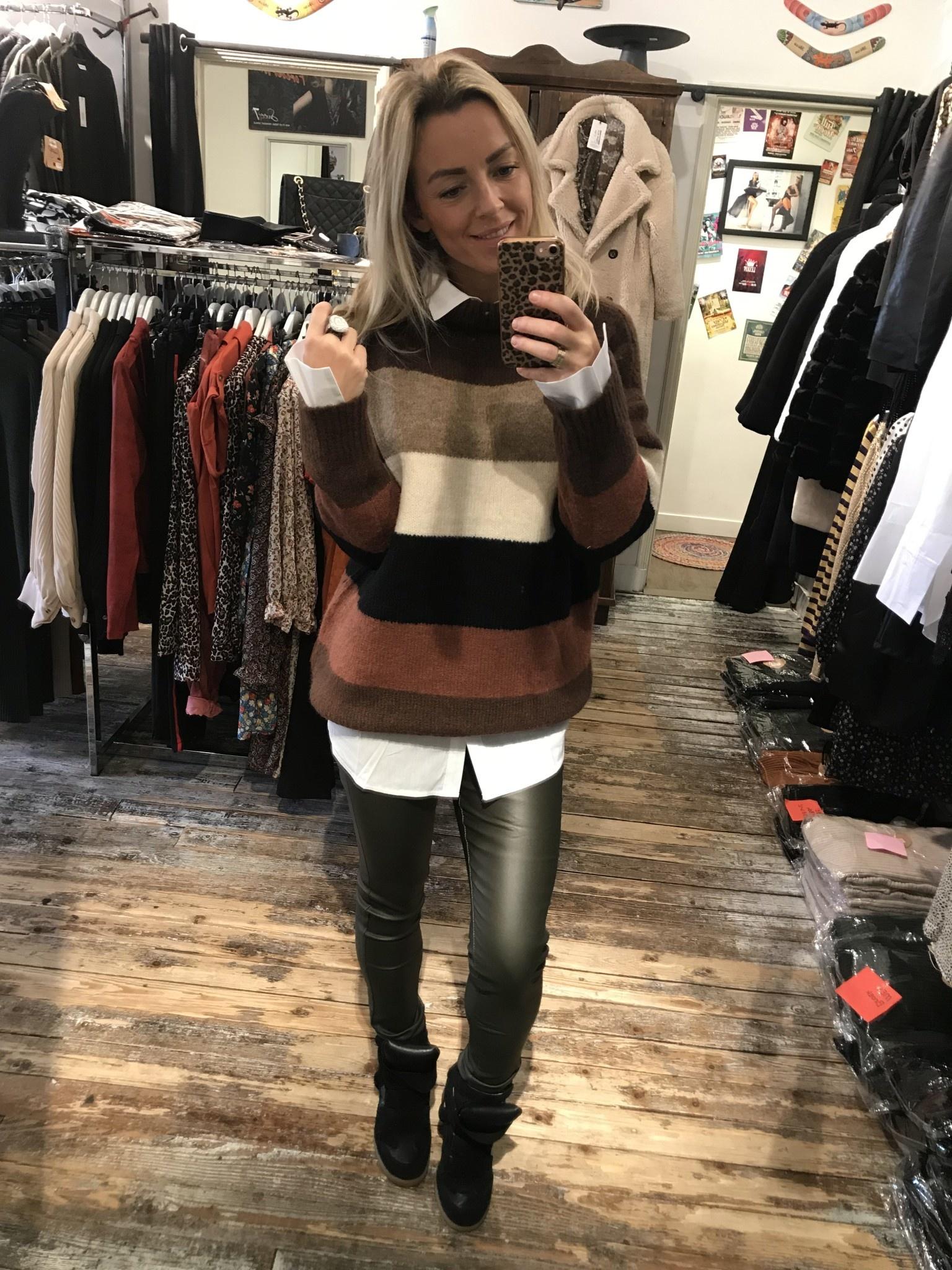 2998 Millenium Sweater Stripe Coffee