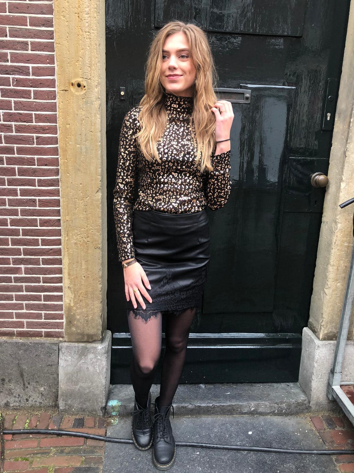 22449 Drole de Copine Skirt Leather Lace Black