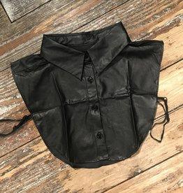 1000 Kraagje Knoopjes Leather Zwart