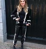 5111 Just Dai Pants Leather White Stripe Black