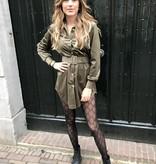 728 Ambika Dress Rib Fluweel Green