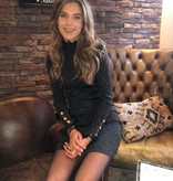 8315 Giorgia Dress Glitter Lace Sleeve Silver