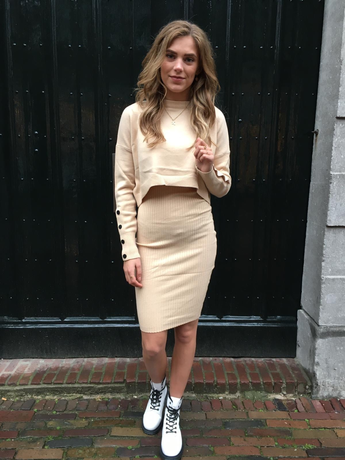 8101 SweaterDress Two Piece Nude
