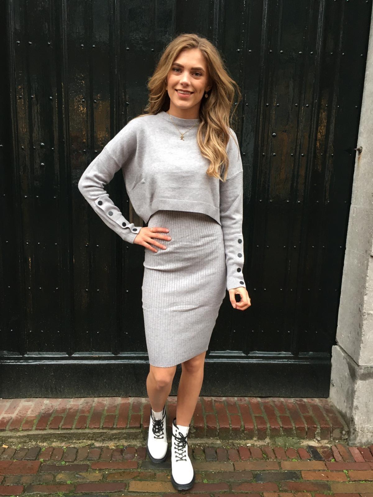 8101 SweaterDress Two Piece Grey