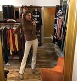 Ambika Salma Pants Flair Leather Off White