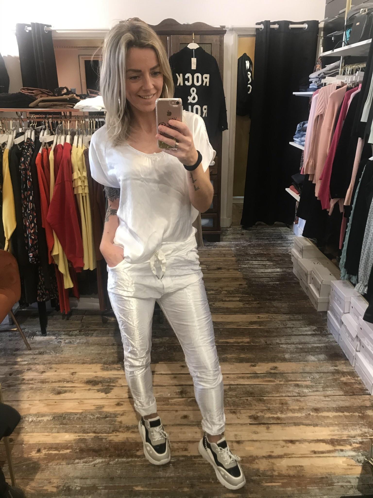 111 Dyve Twinset Top Pants Silk White