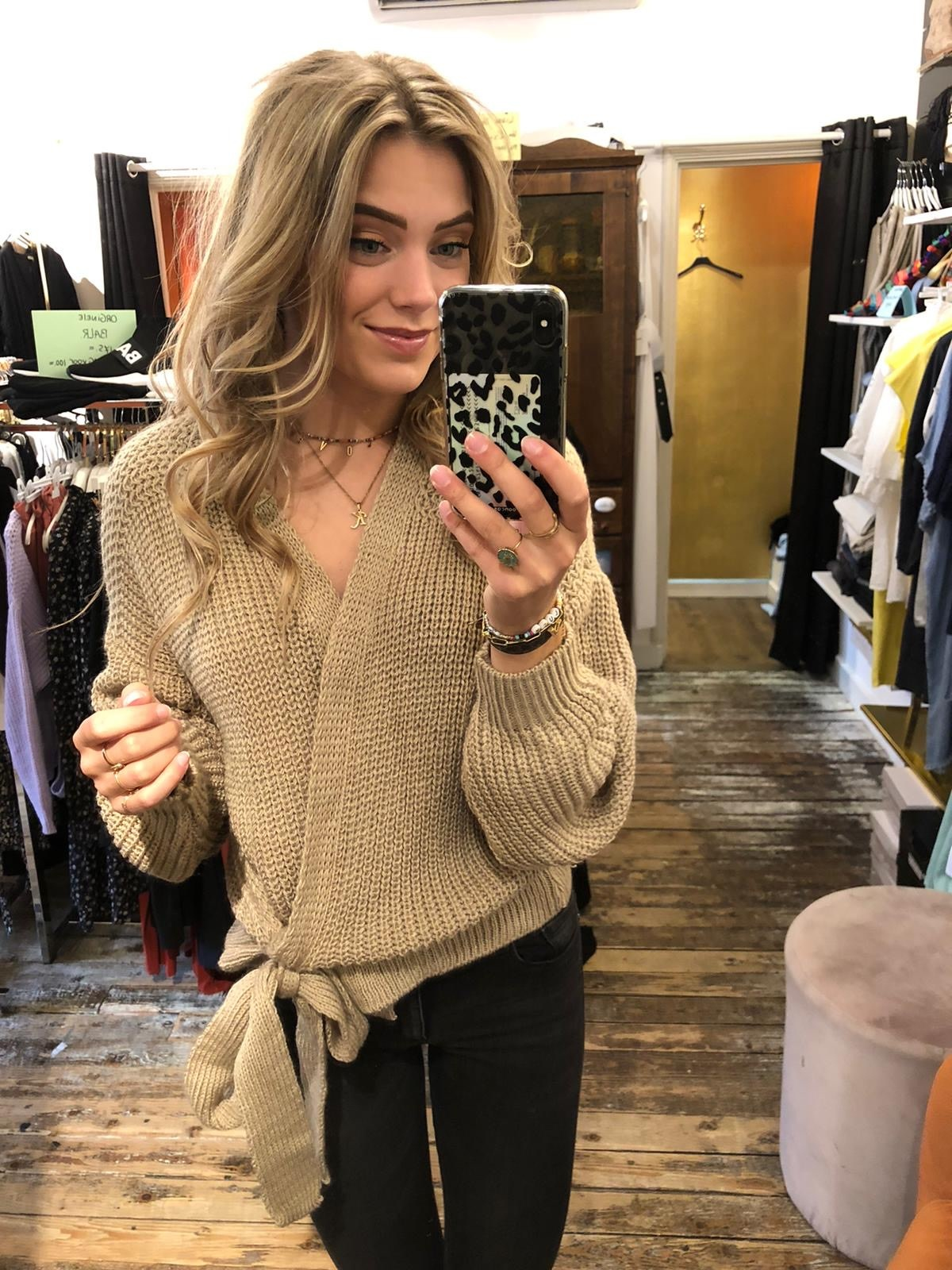 1116 Moda Valentina Cardigan Knit Beige