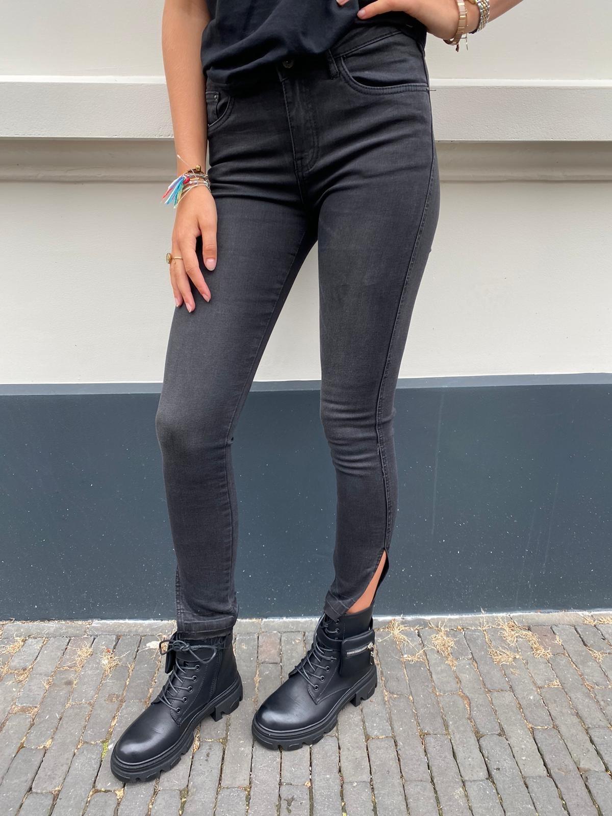 9349 Queen Heart Jeans Split Dark Grey