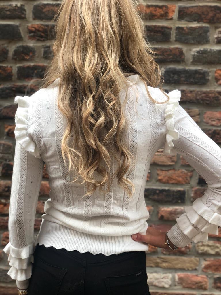1035 Design Sweater Turtle Neck Ruffle White