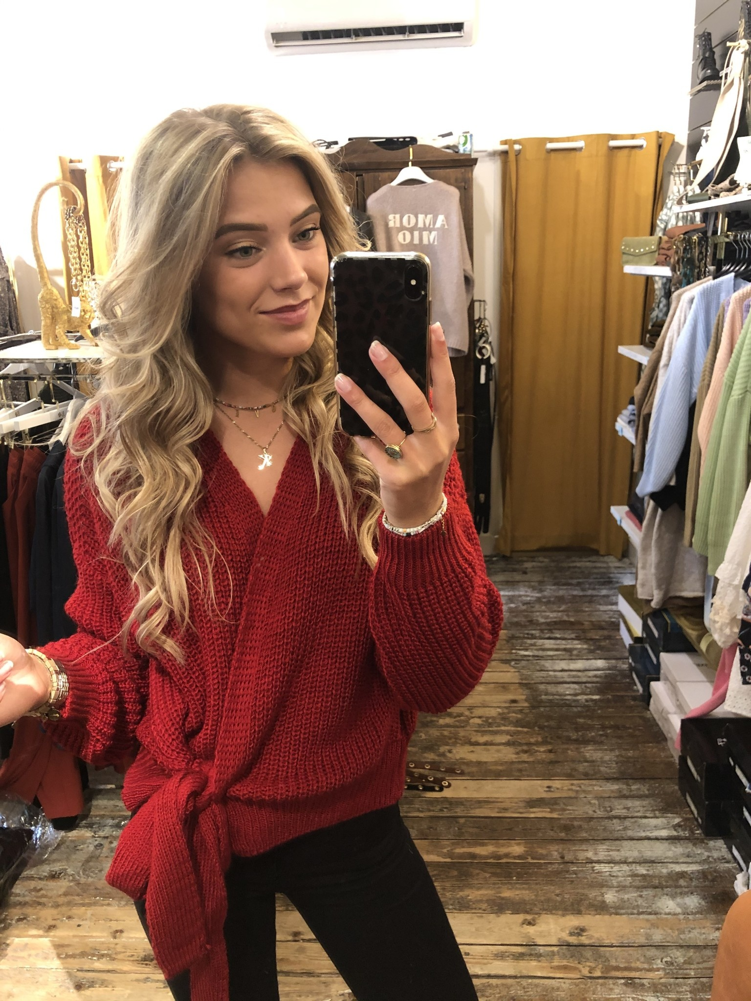 1116 Moda Valentina Cardigan Knit Red