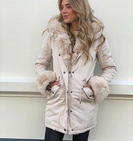 7007 Copperose Faux Fur Jacket Beige