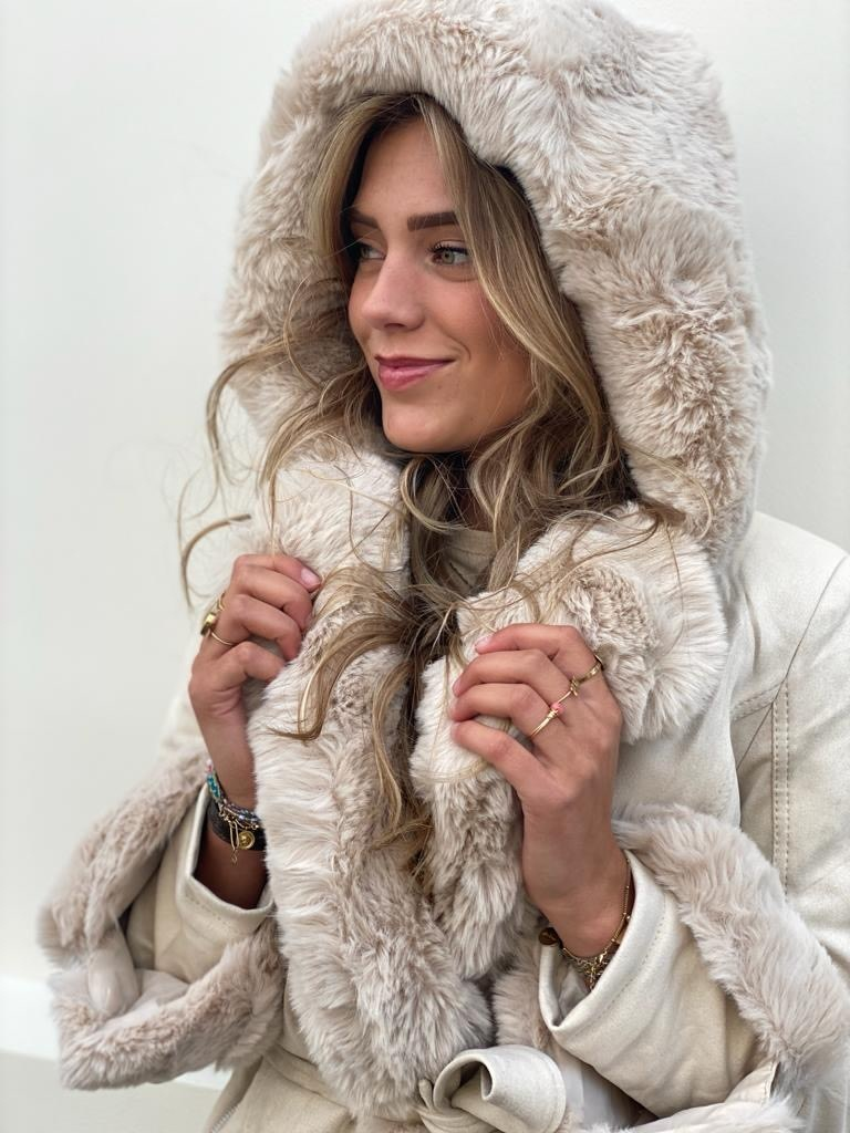 7007 Copperose Faux Fur Jacket Beige