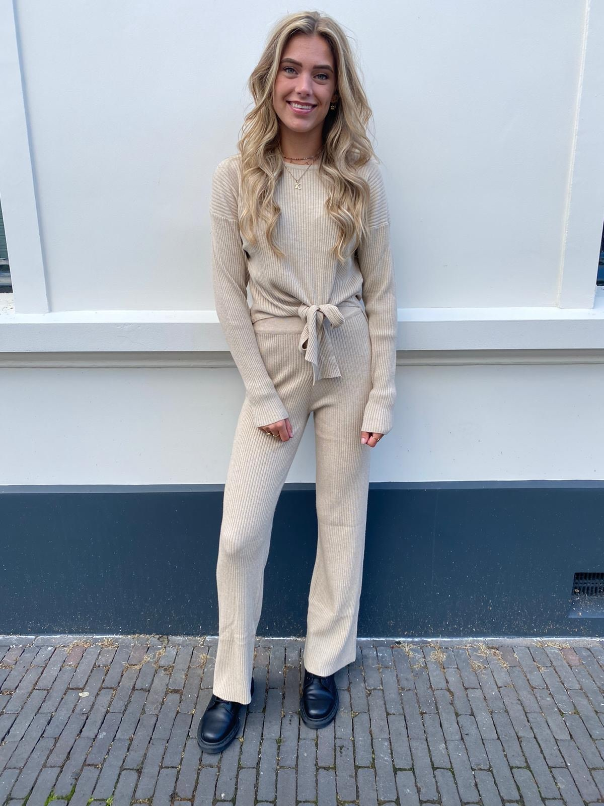 1002 Emma & Ashley Comfy Suit Straight Pants Beige
