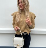 3828 Drole De Copine Knitted Ruffle Sweater Camel