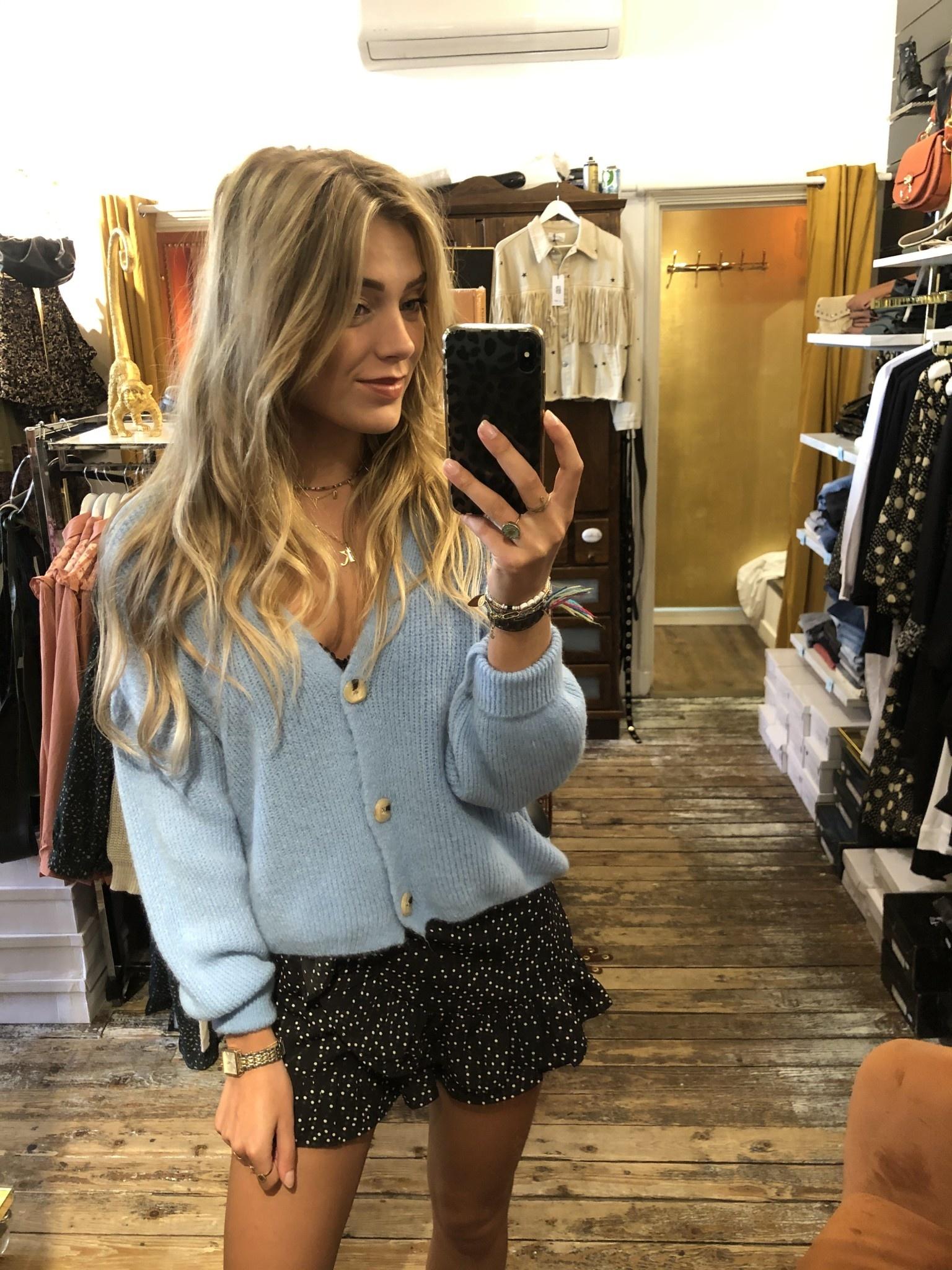 032 Jumelle Cardigan Knit Button Blue