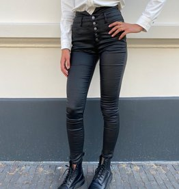 642 Queen Heart leather Pants Warm Skinny Black
