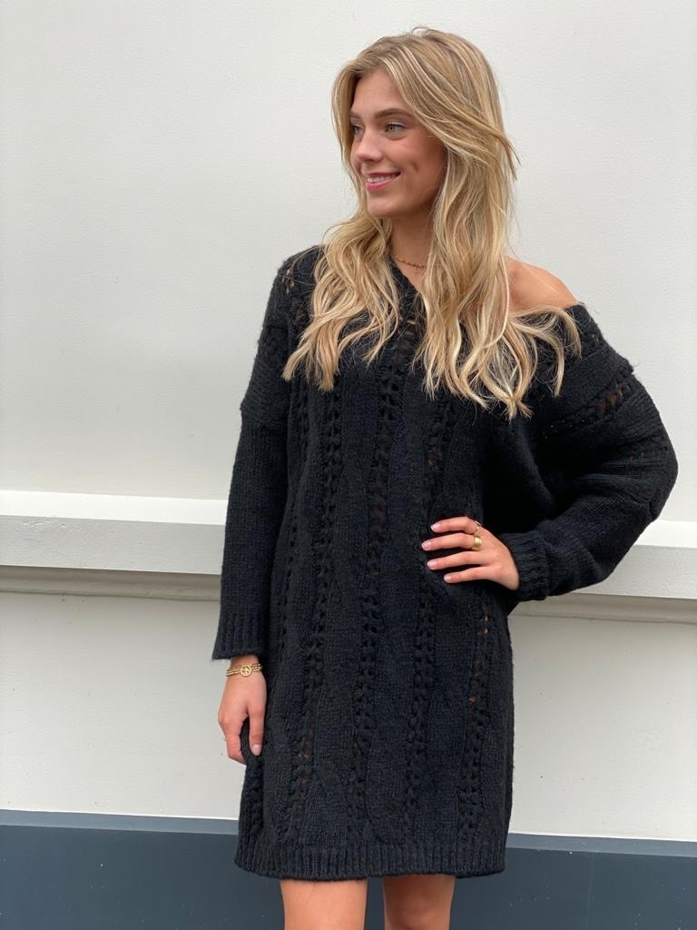 2026 Dins Tricot Knitted Sweater Dress Black