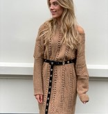 2026 Dins Tricot Knitted Sweater Dress Camel