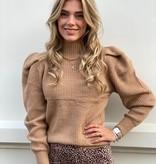 7738 Sweater Puff Sleeve Camel