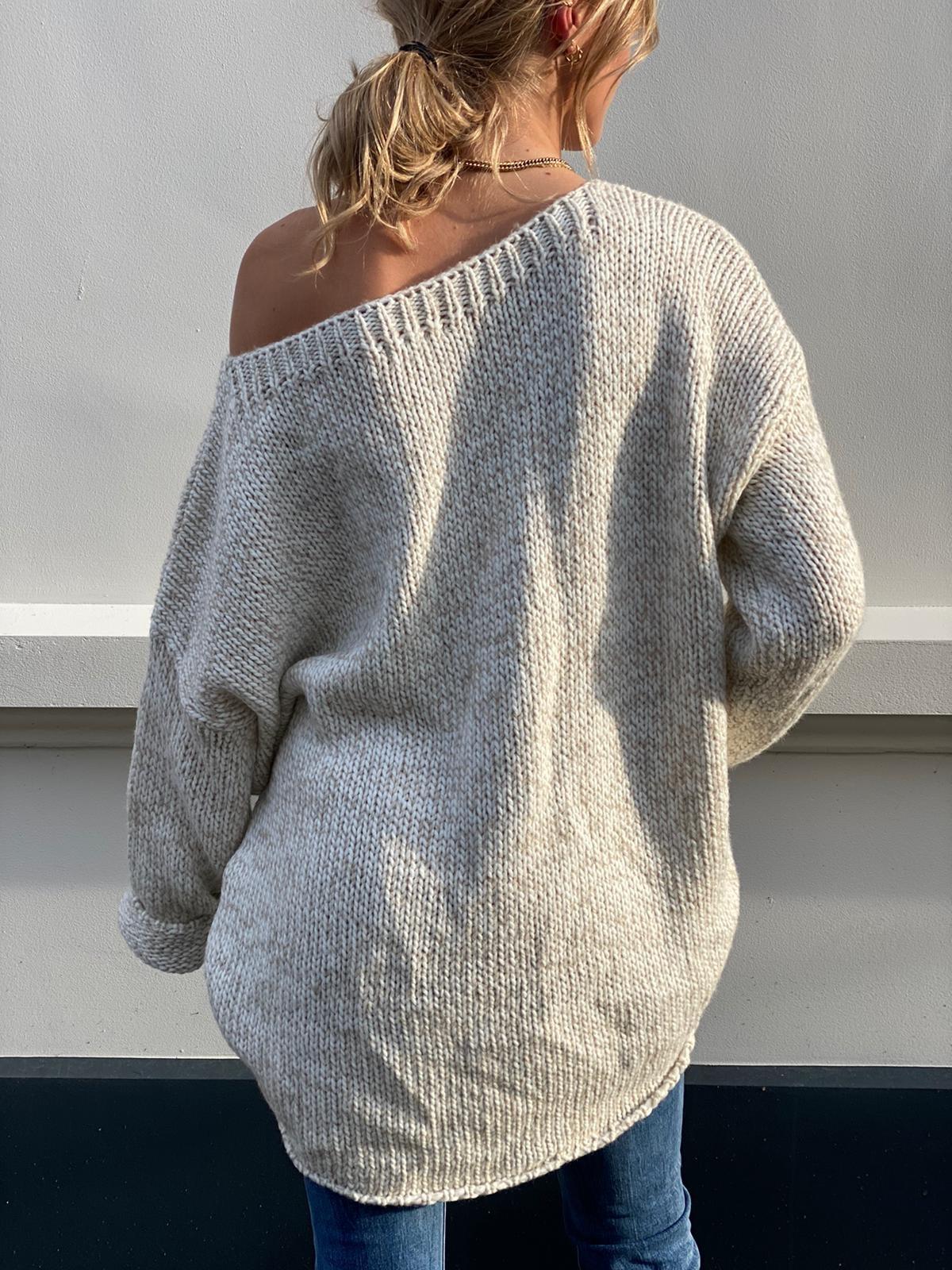 2037 Dins Tricot Sweater Short Beige White