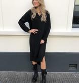 1337 Moda Sweater Dress Long V-neck Black