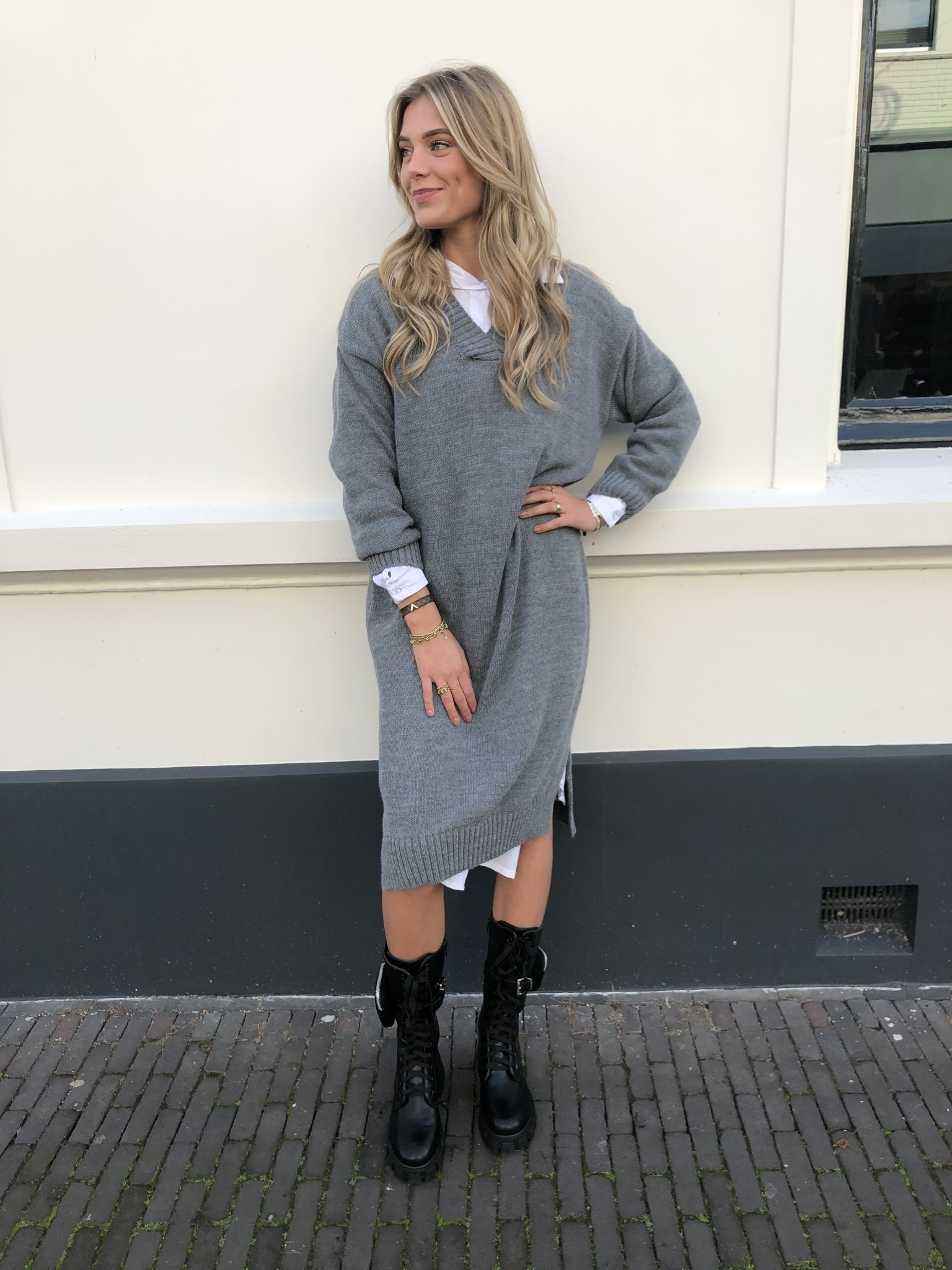 1337 Moda Sweater Dress Long V-neck Grey