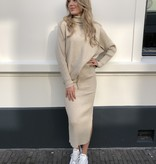 1226 Purple Queen Comfy Suit Sweater Skirt Beige