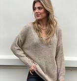 2063 Dins Tricot Basic Sweater V-Neck Beige