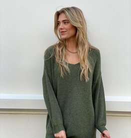 2063 Dins Tricot Basic Sweater V-Neck Army Green