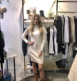 454 Exquiss's Sweater Dress Turtle Neck Split Beige