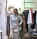 2071 Long Sweater Dress Split Col Grey