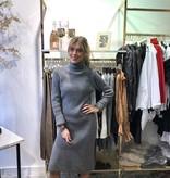 2071 Long Sweater Dress Split Col Dark Grey