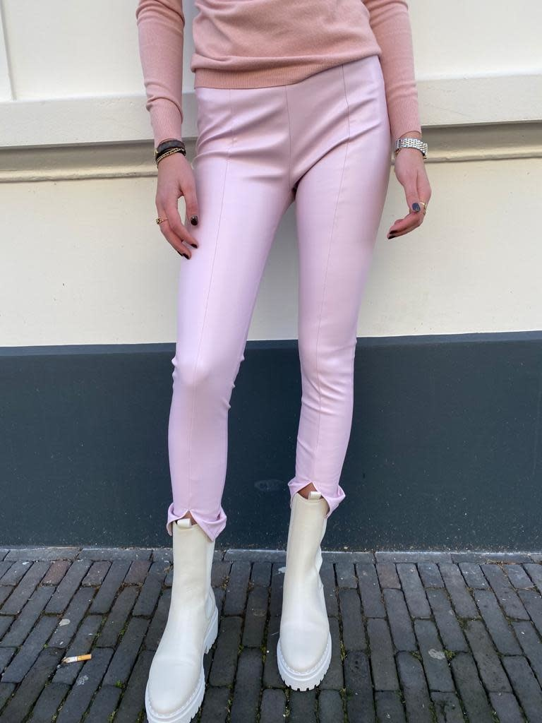 8237 By Clara Leather Pants Split Pink