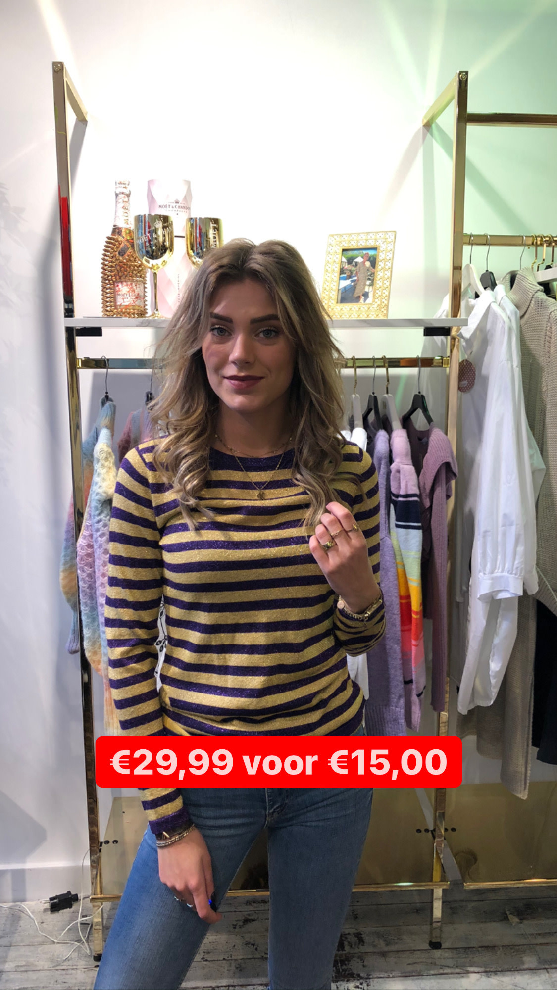 2088 Sweater Glitter Yellow Purple Stripe