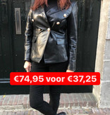 9579 Softy Jacket Leather Golden Button Black