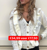 2049 Ruffle Cable Cardigan Off White