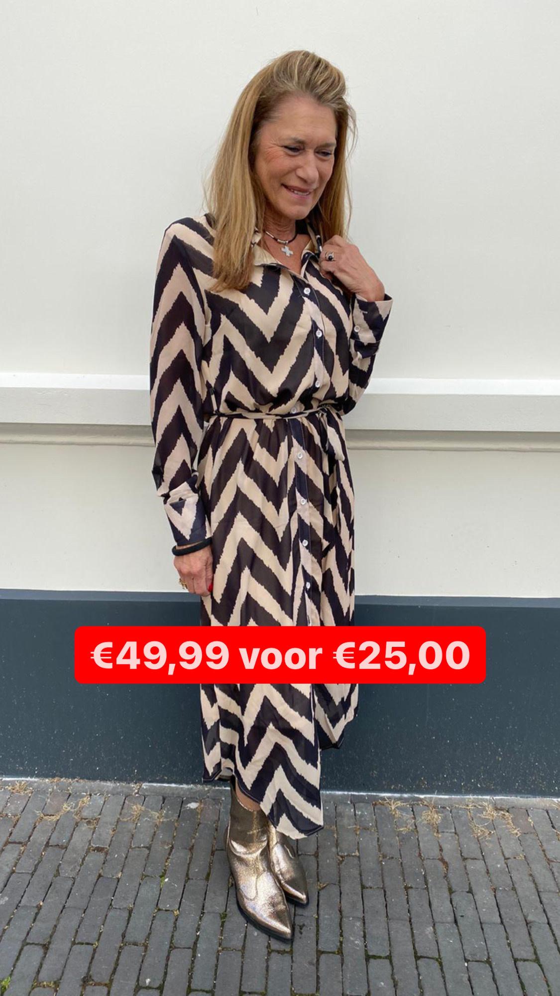 236 Just Dai Dress Maxi Zig Zag Beige Black